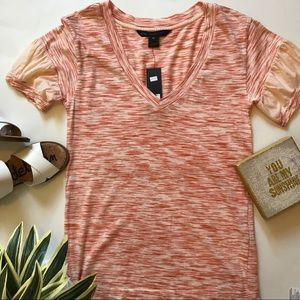 Marc Jacobs orange striped tee with puff sleeve